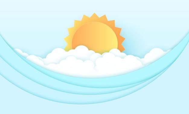 바다 경치, 밝은 태양과 바다가 있는 흐린 하늘, 파도, 종이 예술 스타일