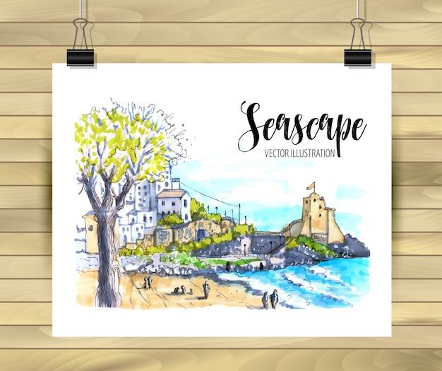 Seascape of hand drawn illustration