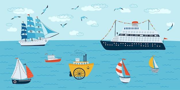 Морской пейзаж в плоском стиле. летняя сцена с кораблями, лодкой. векторная иллюстрация