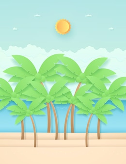 Seascape, landscape, coconut trees on the beach with sea, bright sun in the sky, paper art style