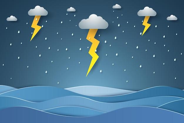 Seascape in rain season with lightning in paper art style