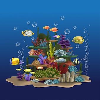 바다 바위와 식물. 모래와 해초, 바다의 바닥 근처에 떠있는 물고기와 수중보기. 수생 이미지 야생 동물 일러스트