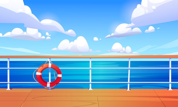 Seascape view from cruise ship deck. ocean landscape with calm water surface and clouds in blue sky. cartoon illustration of wooden boat deck or quay with railing and lifebuoy
