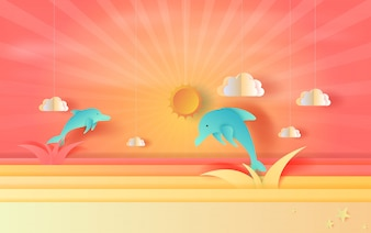 Seascape view with jumping dolphin and clouds sunset