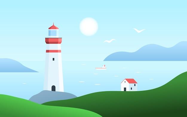 Морской пейзаж с маяком на скалах. пейзаж с домиком у моря.