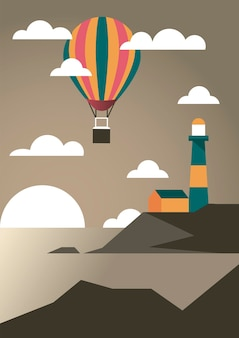 Seascape with lighthouse and balloon air hot aventure travel landscape scene vector illustration design