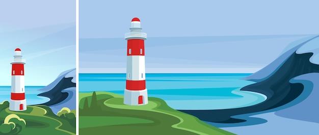 Морской пейзаж с маяком. красивый пейзаж в вертикальной и горизонтальной ориентации.