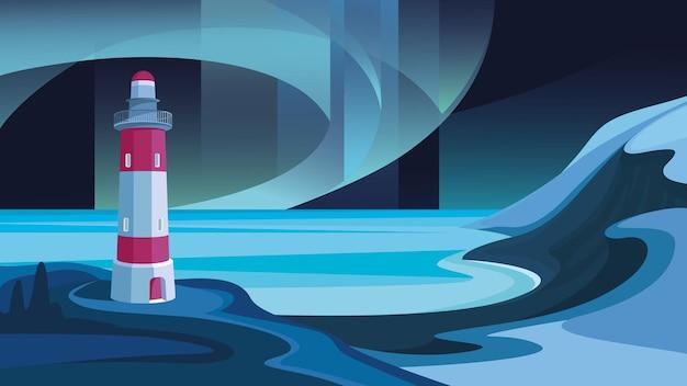 Морской пейзаж с маяком. красивый пейзаж с северным сиянием.