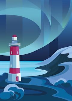 Морской пейзаж с маяком. пейзаж с северным сиянием в вертикальной ориентации.