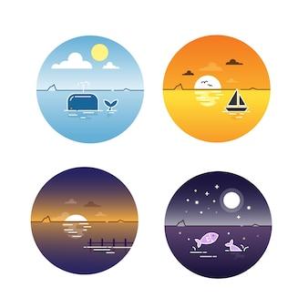 Набор дневных циклов морских водорослей