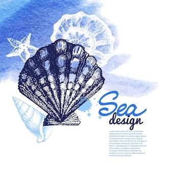 貝殻の背景。海の航海のデザイン。手描きスケッチと水彩イラスト