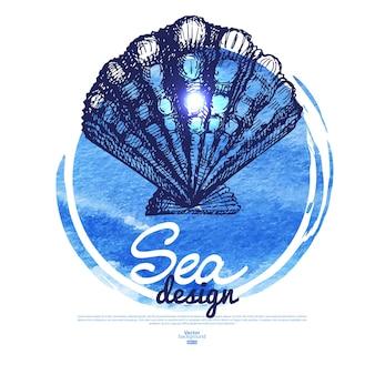 Баннер морских ракушек. морской морской дизайн. ручной обращается эскиз и акварельные иллюстрации