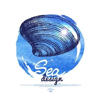 Seashell banner. sea nautical design. hand drawn sketch and watercolor illustration