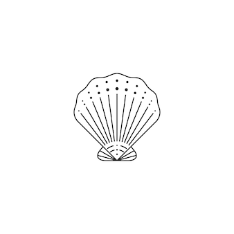 トレンディな最小限の線形スタイルの貝殻アイコン。ロゴ、ウェブサイト、tシャツのプリント、タトゥー、ソーシャルメディアの投稿とストーリーのカキ殻のベクトルイラスト