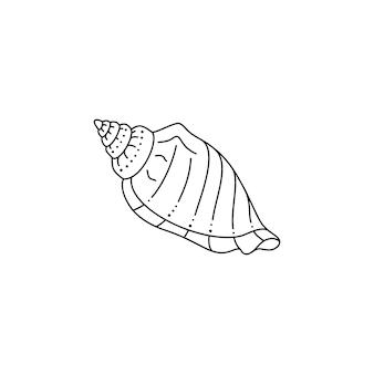 トレンディな最小限の線形スタイルの貝殻アイコン。ロゴ、ウェブサイト、tシャツのプリント、タトゥー、ソーシャルメディアの投稿とストーリーのシェルのベクトルイラスト