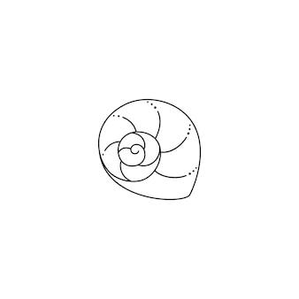 トレンディな最小限の線形スタイルの貝殻アイコン。ウェブサイト、tシャツのプリント、タトゥー、ソーシャルメディアの投稿とストーリーのカタツムリの殻のベクトルイラスト