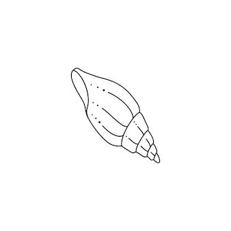 トレンディな最小限の線形スタイルの貝殻アイコン。ウェブサイト、tシャツのプリント、タトゥー、ソーシャルメディアの投稿とストーリーのスパイラルシェルのベクトルイラスト