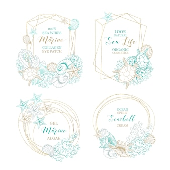 Seashell and marine algae cosmetics package labels