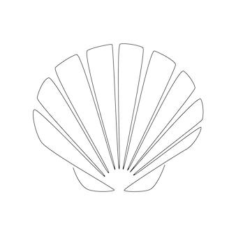 조개 가리비. 굴 연체 동물의 연속 한 선 그리기. 현대적인 미니멀리즘 배지 아이콘 또는 로고. 신선한 해산물 아이콘을 위한 바다 조개 마스코트 개념. 벡터 일러스트 레이 션