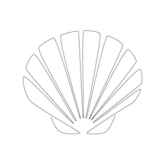 Seashell scallop. continuous one line drawing of an oyster mollusk. modern minimalist badge icon or logo. sea shell mascot concept for fresh seafood icon. vector illustration