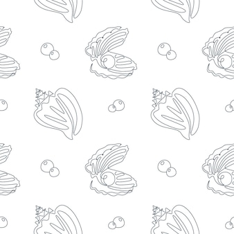 Seashell seamless pattern in one line drawing. vector ocean background with silhouette sea shells and pearl. perfect for textiles, wallpaper and prints