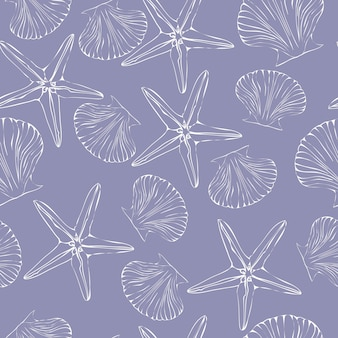 Seashell seamless pattern. scallop