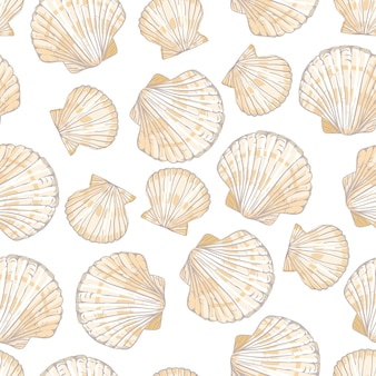 Seashell seamless pattern.