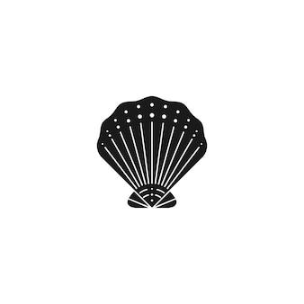 최신 유행의 최소한의 간단한 스타일의 조개 실루엣. 로고, 웹사이트, t-셔츠 인쇄, 문신, 소셜 미디어 게시물 및 이야기에 대한 굴 껍질의 벡터 일러스트 레이 션