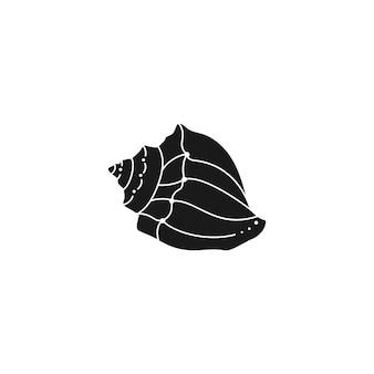 최신 유행의 최소한의 간단한 스타일의 조개 실루엣. 로고, 웹사이트, t-셔츠 인쇄, 문신, 소셜 미디어 게시물 및 이야기에 대한 쉘의 벡터 일러스트 레이 션