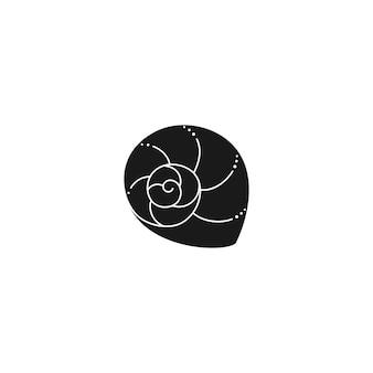 최신 유행의 최소한의 간단한 스타일의 조개 실루엣. 웹사이트, t-셔츠 인쇄, 문신, 소셜 미디어 게시물 및 이야기에 대한 달팽이 껍질의 벡터 일러스트 레이 션
