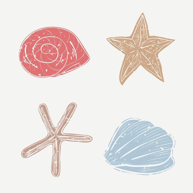 貝殻ベクトル漫画デザイン要素コレクション