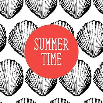 Seashells seamless pattern, vector, illustration. marine