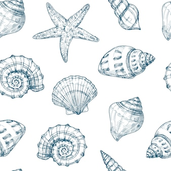 Seashells seamless pattern