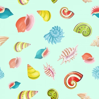 Seashells seamless vector pattern.