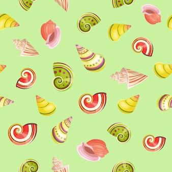 Seashells seamless vector pattern.