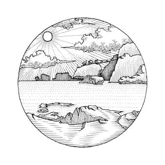 Seashore cliff view hand drawn illustration