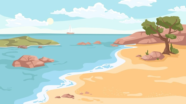 Seashore landscape background in flat cartoon vector sea beach with exotic green trees rocky cliffs