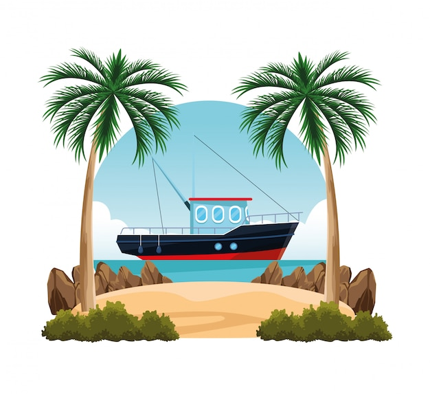 Seashore landscape cartoon