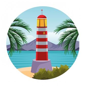 Seashore landscape cartoon