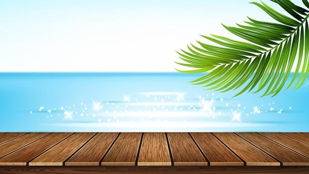 해변 목조 부두, 바다와 트리 분기 벡터입니다. 해변 나무 부두와 해변, 바다와 식물 녹색 잎, 좋은 날씨. 나머지 현실적인 3d 일러스트 레이 션에 대 한 여름 휴가 풍경