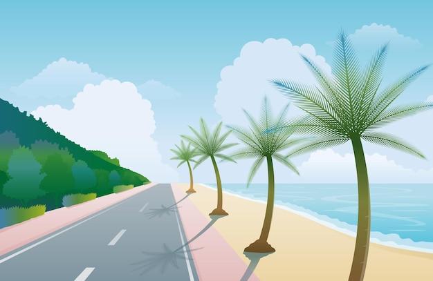 Приморский пляж-роуд с фоном пальмовых деревьев