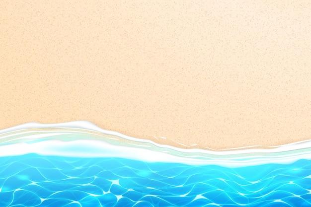 Seaside beach with azure waves on sand coast
