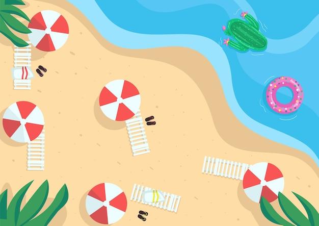 海辺のフラットカラー。シーサイドリゾート。ビーチでの休暇。海沿いの休日。夏時間。パラソルとベッドのある夏のビーチ背景に自然と2d漫画の風景