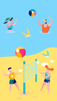 Seaside outdoor games flat vector illustration
