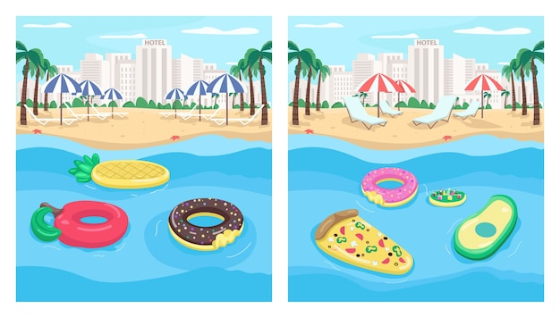 Seaside resort and inflatables flat color illustration set