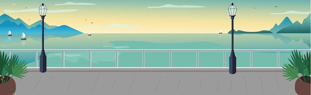 シーサイドリゾートストリートフラットカラーベクトルイラスト。ウォーターフロントのテラス。地平線上の帆船と海。湖と山のスカイライン。背景に夕暮れ時の海と海辺の2 d漫画風景