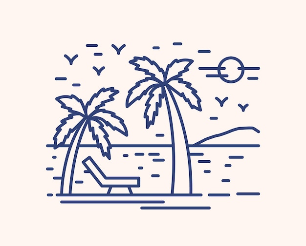 Приморский курорт отпуск lineart иллюстрация. линейные пальмы на пляже с шезлонгом. концепция летнего отдыха