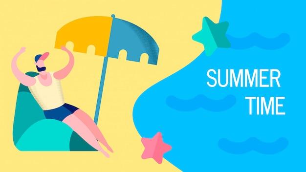 Seaside resort vacations flat banner template
