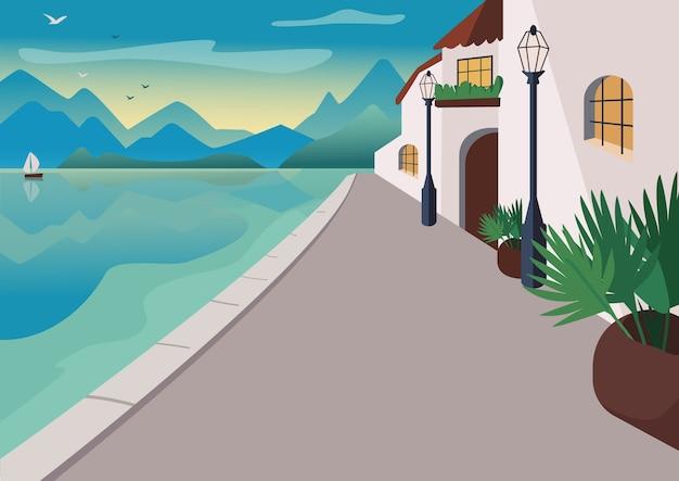 Цветная иллюстрация приморского курортного поселка. улица набережной со зданиями и тропическими пальмами в горшках. прибрежный мультяшный пейзаж с горами и океаном на восходе солнца на фоне