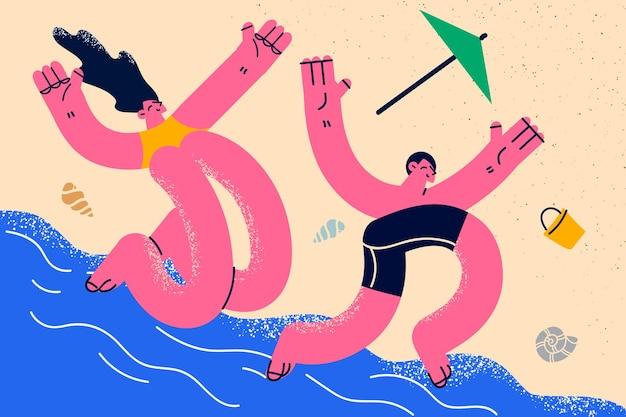 Концепция отдыха летние каникулы на море. молодая пара женщина и мужчина в купальниках, лежа на песчаном пляже, загорая во время поездки, отпуск, путешествие, векторная иллюстрация